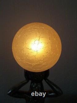 Lamp Art Deco 1930 Statue Woman Dancer Glass Globe Sculpture Nightlight
