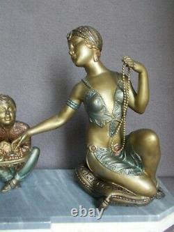 Lamp Art Deco 30s Sculpture Oriental Woman Dancer Jewelry Statue Lamp Figure