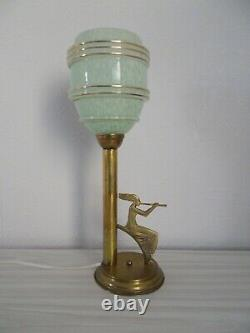 Lamp Art Deco From The 1930s To 1950s Glass Globe Sculpture Woman Statuette