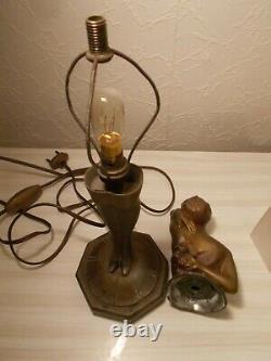 Lamp Nightby Art Deco 1930 Sculpture Femme Statue Lamp Figural 30s Statuette