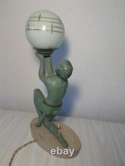 Lamp Sculpture Art Deco Limousin Woman Dancer Naked Metal Statue Lamp