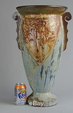 Large Art Deco Stoneware Vase Nude Woman Art Nouveau Stoneware Roger Guerin Belgium