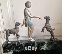 Large Bronze Polychrome Art Deco Woman Lambs Signed Janle