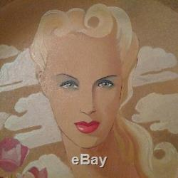Large Ceramic Art Deco Maurice Dard Signed Large Flat Face Woman 40 Years