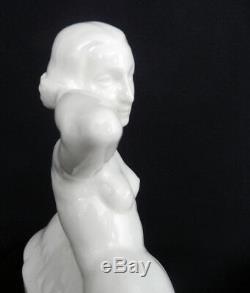 Large Ceramic Sculpture Sarreguemines Female Nude Art Deco Statue C1925