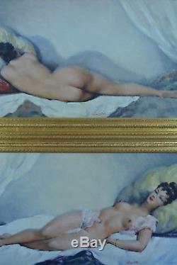 Large Painting Old Nude Erotic Dos Portrait Woman Cesar Vilot Deco Art Hst X2