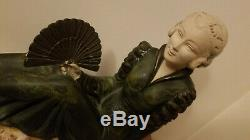 Large Statue Sculpture Woman Metal And Marble Art Deco Old 1930