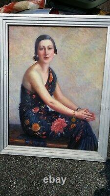 Large Table H/p Portrait Of An Elegant Woman By Pierre Almès (basque Country)