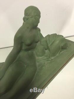 Lejan Terracotta Patina Green Woman Art Deco Ancient Sculpture Statue Doe