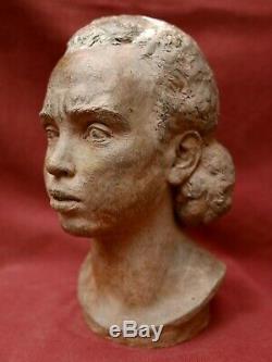 Leon Morice Earth Sculpture Terracotta Portrait African Woman Art Deco Africanism