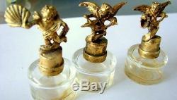 Lot 3 Perfume Bottle Cherub Bronze Art Deco Vintage Made In France