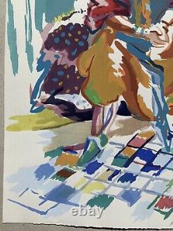 Louis Riou Painting Gouache Orientalist Morocco Algeria Tunisia Portrait Woman