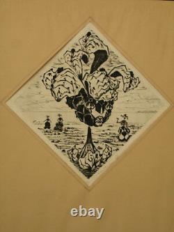 Lucien Coutaud Engraving Beautiful Woman Portrait Flowers Éroticomagie Surreal