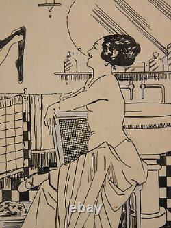 Lucien Guy (xix-xx) China Ink 2 Naked Women Erotic Period Art Deco 1930