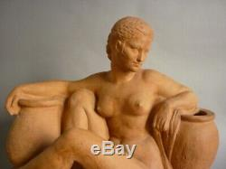 M A Bouraine The Woman With Jars Terra Cotta Art Deco 1930