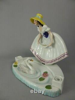 Magnificent Encrier Art Deco Editions Etling Paris Godard Ceramique Woman Swan