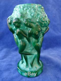 Malachite Vase Curt Schlevogt Art Deco Naked Women / Nude Women