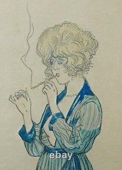Marcel Buchaille Drawing Watercolor Young Woman Naked Cigarette Art Deco Painting