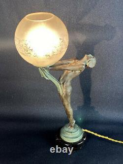 Max Le Verrier / Lamp D Epoque Art Deco / Dancer / Clarity 42 CM