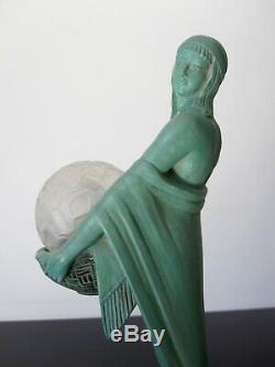 Max Le Verrier Lamp Woman Model Flowers. Art Deco