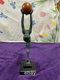 Max Le Verrier Sculpture Muni Ball Onyx Game Fonte Dart Art Deco