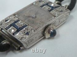 Mechanical Child Art Deco In Gold 18kt Saphirs And Diamants 12.80gr