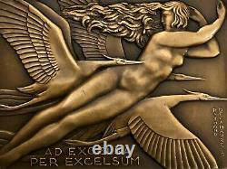 Medaille Plaque Femme Nue Art Deco New Delamarre Non-atribue