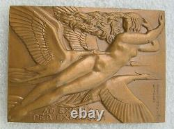 Medaille Style Art Deco By Raymond Delamarre Women Nue & Cigognes 1967 Aviation