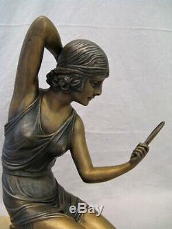 Metal Sculpture Signed Demeter Chiparus Woman In Mirror Art Deco Era