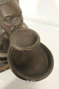 Mr. Leducq Bronze Patinated Topic Africanist Mursis Woman On The Art Deco Plateau