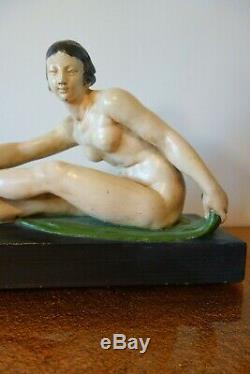 Naked Woman Great Art Deco Pottery Signed Patina Montry