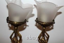 Naked Women's Lamps Signed P. Lucas Bronze Art Deco Glass Tulip