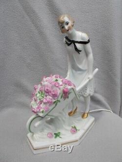 Night Art Deco 1930 Burned Woman Sculpture Porcelain Lamp Statue