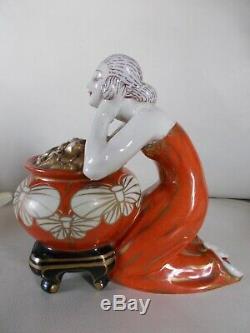 Night Light Art Deco Woman Statuette 1930 Porcelain Sculpture Lamp 30s