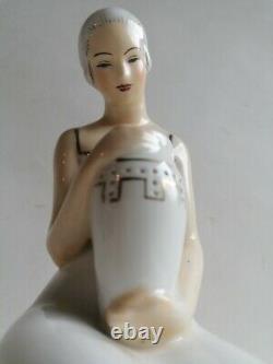 Night Light Brule Perfume Porcelain Art Deco Woman Aladin France 1930
