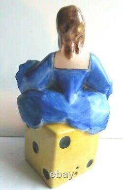 Nightlight, Porcelain Of Limoges Woman In Blue Dress Sitting On A D