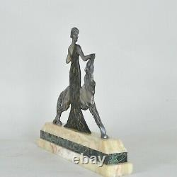 Nisoul, Woman In Greyhound, Bronze Signed, Art Deco, 20th Century