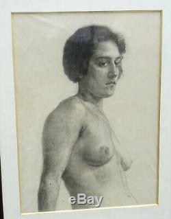 Nude Woman Portrait French School Of The Twentieth Century Drawing On Glass Art Deco