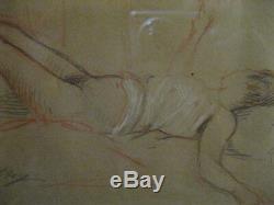 Nude Woman With Three Pencils Signed Elsig Art Nouveau Art Deco / 1920 1930