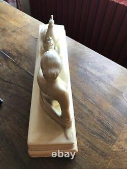 Odyv Statuette Art Deco At The Cracked Peacock Shell Duf State Tb 1930