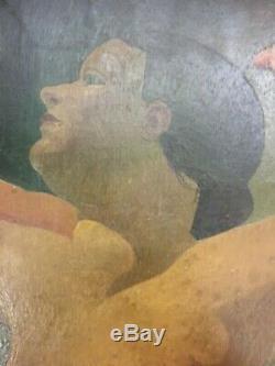 Oil / Panel Female Body Art Deco Style