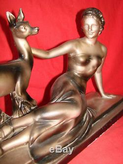 Old Art Deco Sculpture In Plaster Signed Cipriani The Woman And The Doe