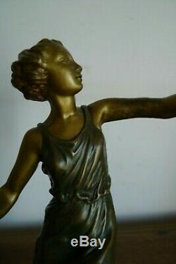 Old Bronze Sculpture Young Woman Signed Aurore Onu Period Art Deco 1925