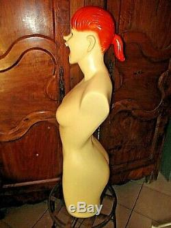 Old Bust Lingerie-pin Up-mannequin Naked Red-haired Woman Vintage 1950