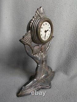 Old Clock Sculpture Art Deco Colonial Exhibition In 1931 Statuette Woman