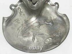 Old Empty Pocket In Etain With Sculpture Woman Art Nouveau Signee Edles Zinn