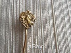 Old Hairpin Tie / Hat-18k Solid Gold-wife Art-deco-solid Gold