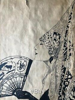 Old Ink Drawing Of China Period Art Deco Woman With Fan Early Twentieth