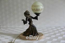 Old Lamp Night Light Art Deco 1930 Woman Antique Lamp Figurine Woman Statue