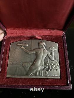 Old Medaille Silver Woman Art Deco Sign R Lamourdieu Vintage